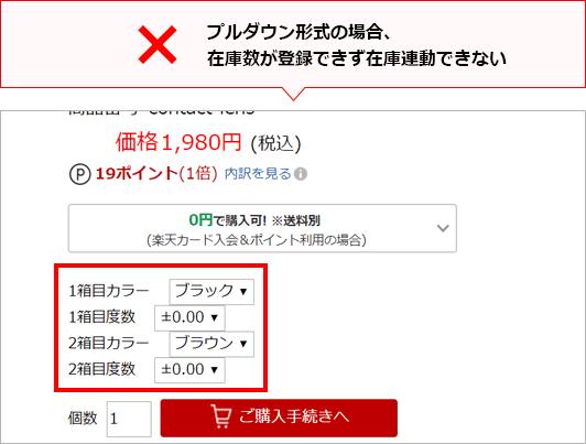 プルダウン形式の場合、在庫数が登録できず在庫連動できない